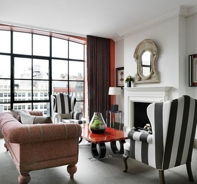In My House: The Crosby Street Hotel https://www.facebook.com/ThreeLittlePigsColourAndDesign #sitting rooms #black and white #stripes
