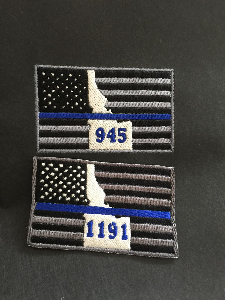 Thin blue line flag badge number patches