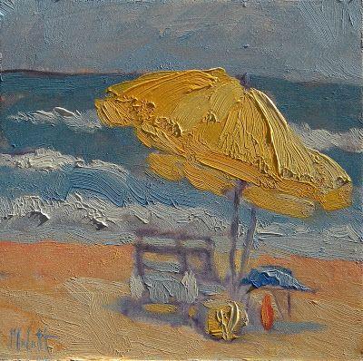 Heidi Malott Original Paintings: Beach Umbrella Impressionism Daily Painting Alla P...