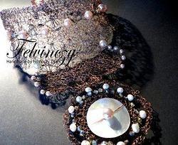 Handcrocheted and hardly oxidized neckpiece ...by Zita Felvinczy