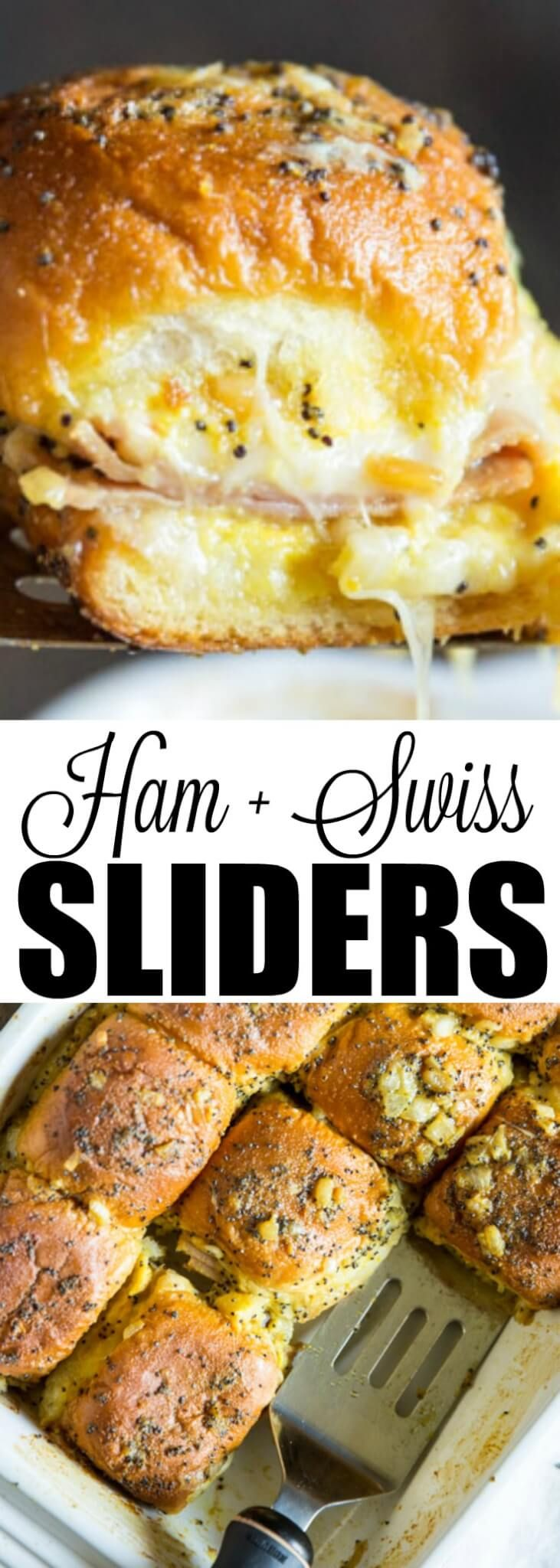 Cheesy ham sandwiches on tiny rolls topped with a poppy seed butter! These Ham and Swiss Sliders are perfect for parties and are so delicious.