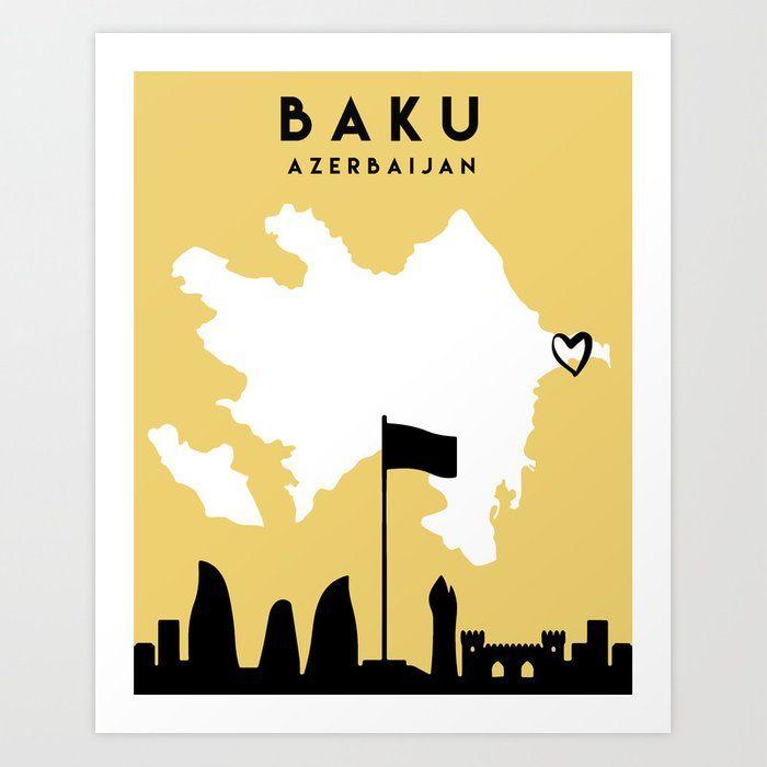 Baku Azerbaijan Love City Silhouette Skyline Art Skyline Art City Silhouette Art Prints