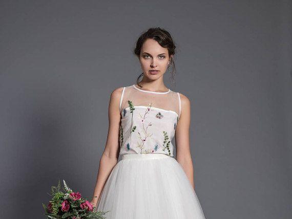 floral wedding blouse  sleeveless wedding top  floral