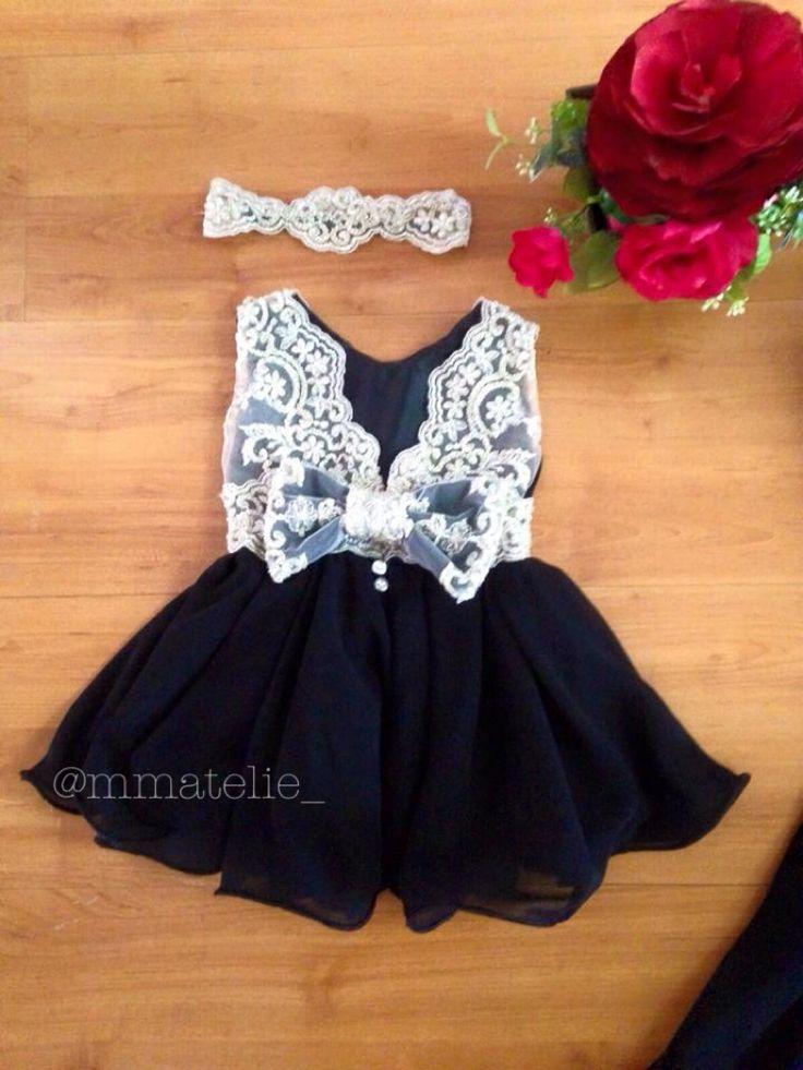 Baby dress vestido de bebe festa preto mae de menina