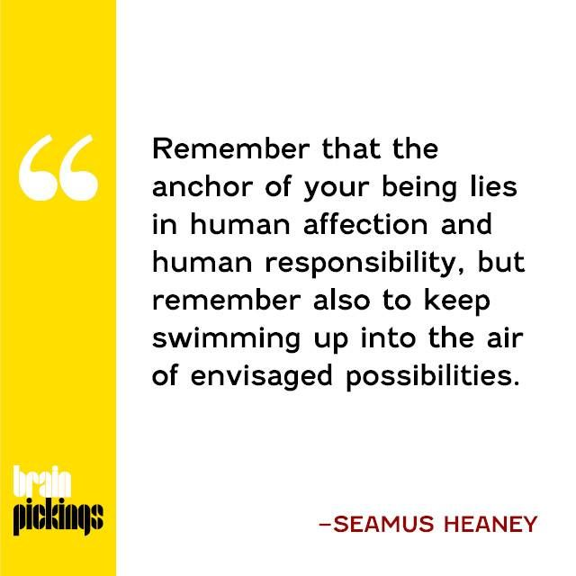 The late, great Seamus Heaney's timeless advice to the young: