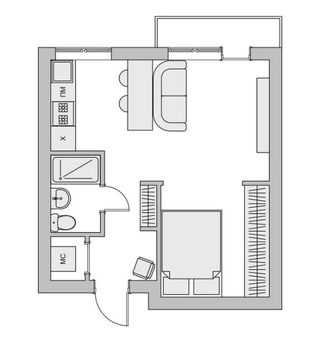 17 best images about house plans on pinterest small apartment layout one bedroom and small houses. Black Bedroom Furniture Sets. Home Design Ideas