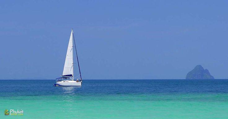 Sailing yacht on the sea at Khai Island, Phang Nga, Phuket, Thailand