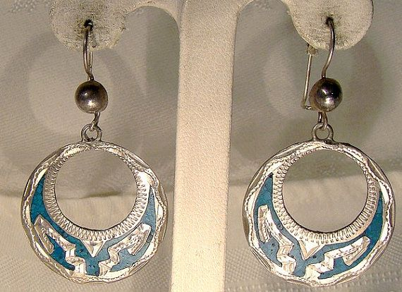 Mexican STERLING Silver Earrings with Inset Crushed TURQUOISE