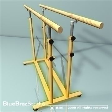 Parallel bars 3D Model-   Two parallel bars form an artistic gymnastics apparatus only used by male gymnasts.Height 200 cm Length 350 cmDistance between the bars 42 cm to 52 cmPolygonalpolygons 20288vertices 18488 - #3D_model #Other Sports