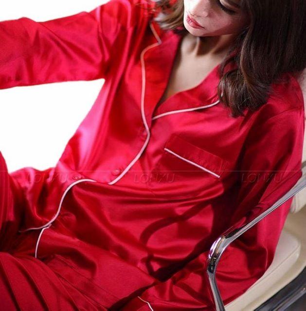 Женская Шелковый Атлас Пижамы Набор Пижамы Пижамы Набор Пижамы Loungewear XS, S, M, L, XL