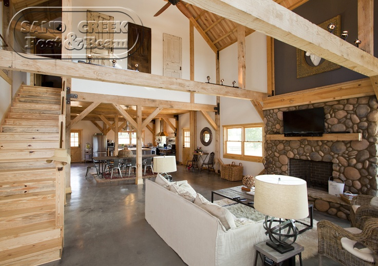 open living space sand creek post and beam barn homes. Black Bedroom Furniture Sets. Home Design Ideas