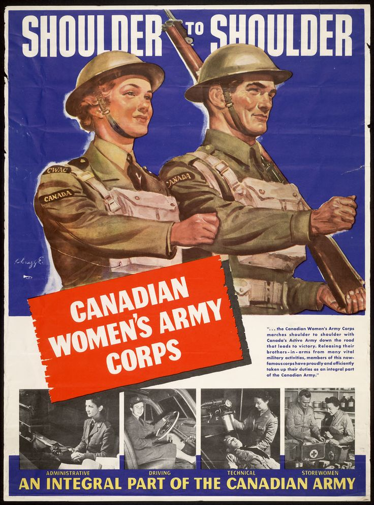 This is a recruiting poster from before WW2 when females were allowed to fight in the war for the first time. It's credible because it was found on a website with accurate information, and it was found in Canada at the time. This was a big improvement in the lives of women and Canadians in general, as their lives were quickly changing.