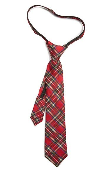 Nordstrom 'Royal Stewart' Silk Zipper Tie (Little Boys)