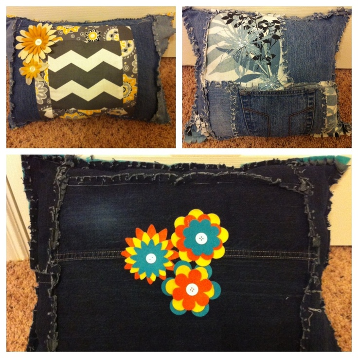 Blue jean pillowsA Mini-Saia Jeans, Blue Jeans, Jeans Pillows