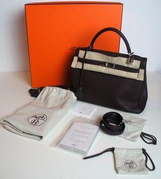 Brown Leather Hermes Kelly Satchel