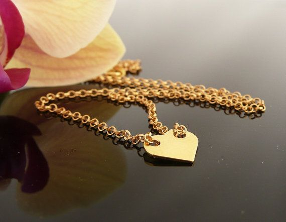 Gold Heart Necklace Gold Necklace for Women Gold by MONADESING