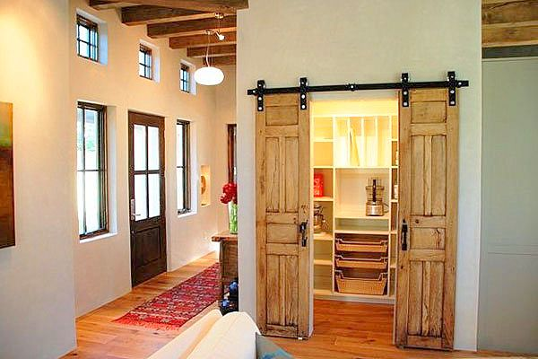 Large sliding pantry doors.