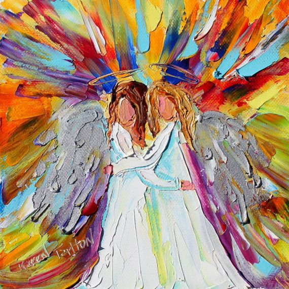 Original oil ANGEL Friends PALETTE KNiFE painting modern impressionism impasto fine art by Karen Tarlton