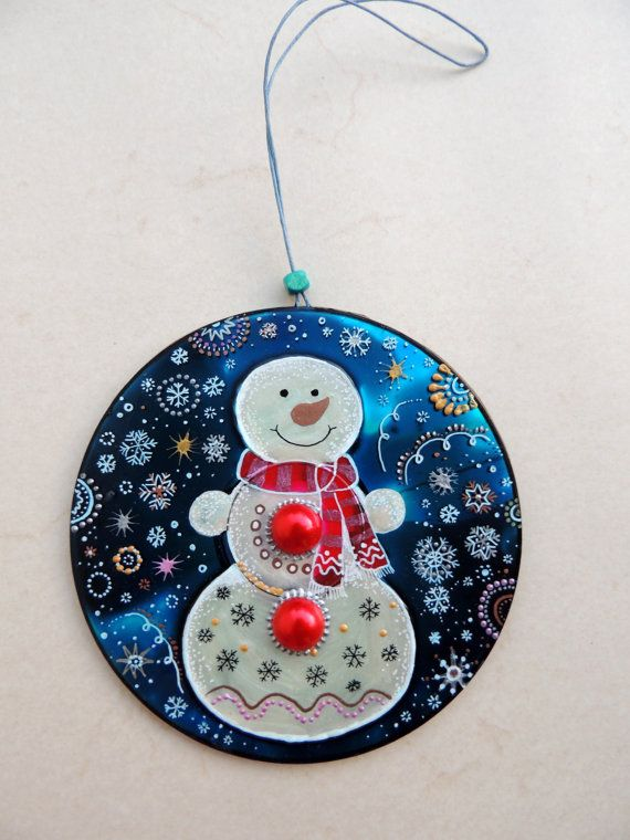 Snowman Decoration, hand painted CD, upcycled Christmas decor, upcycled CD, eco-friendly Christmas, handpainted CD, upcycled art