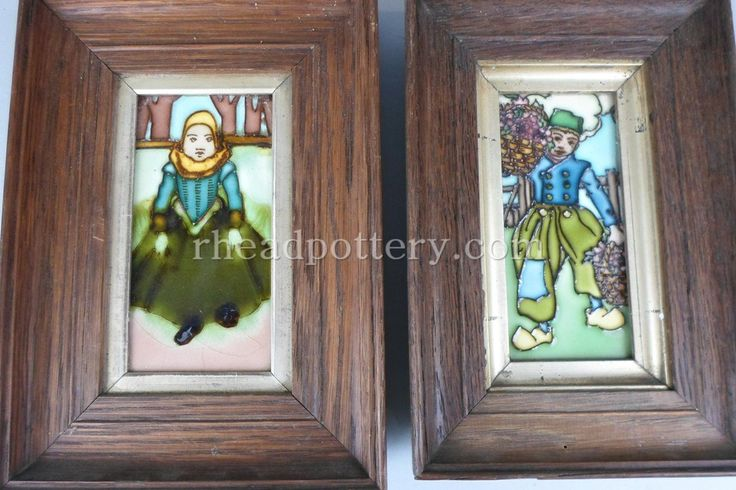 Charlotte Rhead tube-lined tiles x 2 depicting two Dutch children, 15.5 x 8cm - £450