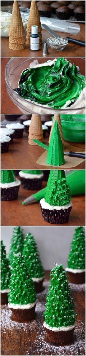 CHRISTMAS TREE CUPCAKES #christmascupcakes