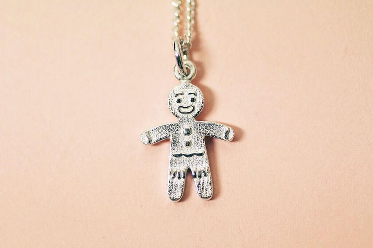 Gingerbread man sterling silver pendant by FrankieAndCoNZ on Etsy