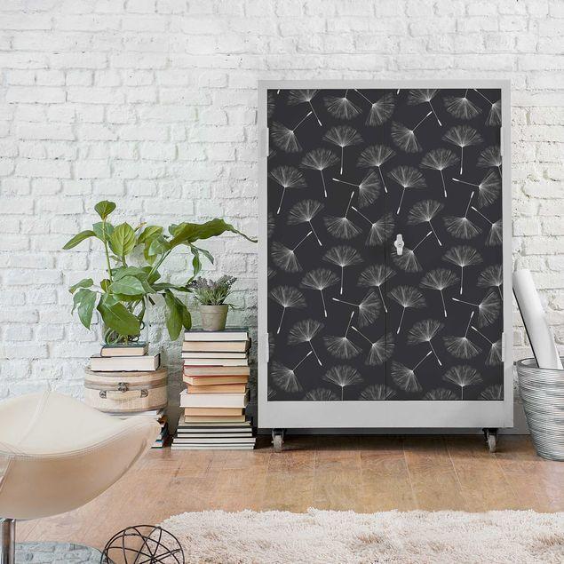 Carta Adesiva per Mobili Dandelions pattern white dark