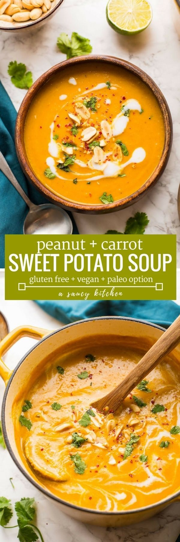 Thick, velvety, healthy and warming - just a few ways to describe thisPeanut Carrot & Sweet Potato Soup! | Gluten Free + Vegan + Grain Free + Paleo Option