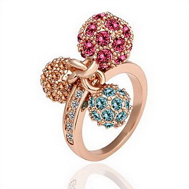 Gorgeous Cubic Zirconia 18K Gold Plated Three Ball Fashion Ring