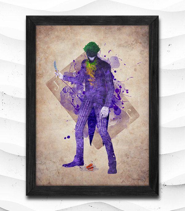 Joker Watercolor Print Batman Poster Villain Art Print by CRCRAP