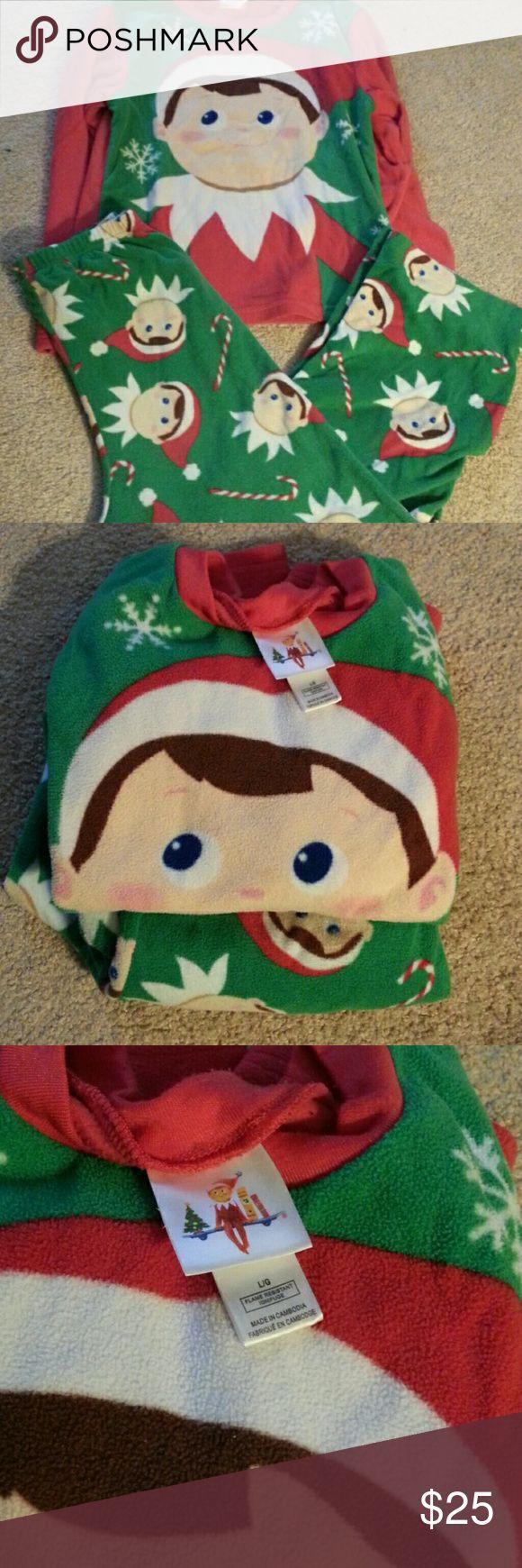 Elf on the shelf boys PJs Like new. Fleece material. Size says large, they fit a boys 10-12 Pajamas Pajama Sets
