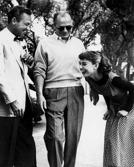 William Holden director Billy Wilder and Audrey Hepburn on the set of Sabrina | Rare and beautiful celebrity photos