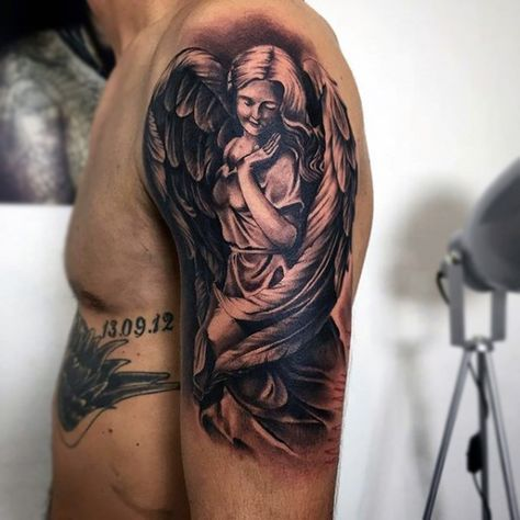 Lovable Guardian Angel Tattoo Mens Arms