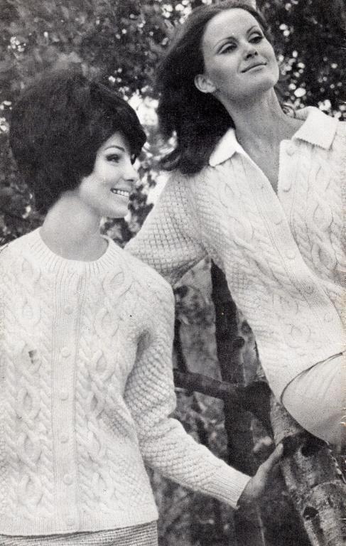 (6) Name: 'Knitting : Vintage Lady's Aran Sweater Shawl Collar