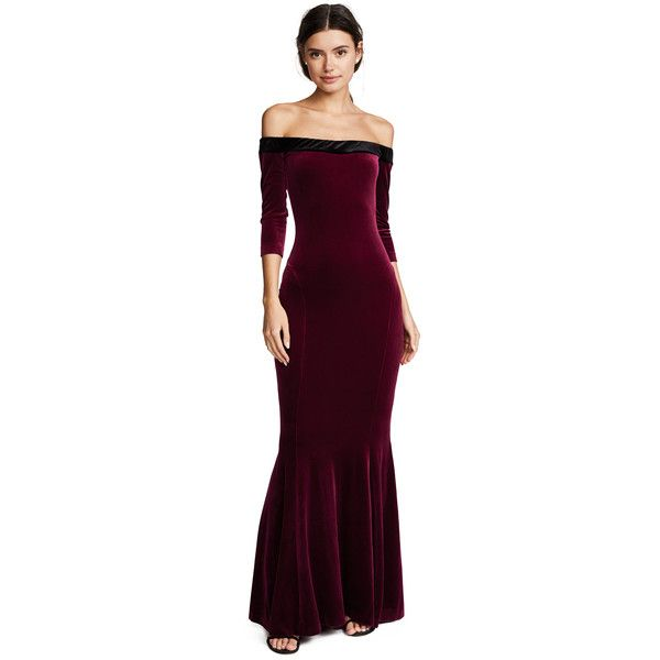 Norma Kamali Velour Fishtail Gown ($330) ❤ liked on Polyvore featuring dresses, gowns, burgundy, off the shoulder gown, off the shoulder evening gown, 3 4 sleeve maxi dress, evening maxi dresses and off shoulder gowns