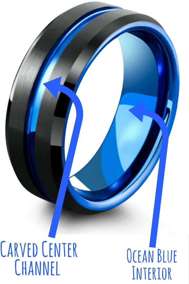 Mens Modern Wedding Band Crafted Out of Tungsten Carbide. This modern black and ocean blue wedding band makes the perfect mens wedding band for those who are looking for something unique.