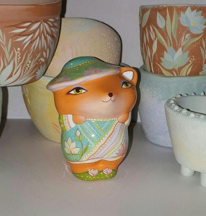Young fox in a flower turquoise hat with lotuses.Ceramic Ocarina. Animals sculpture. by Jivizvuk on Etsy