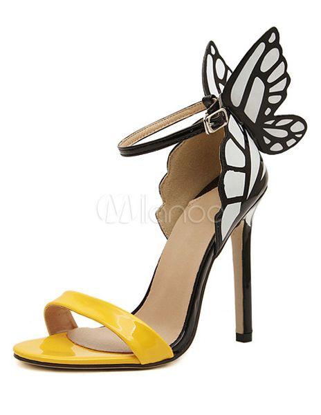 Tacco a spillo gialli farfalla PU pelle abito Chic sandali - Milanoo.com