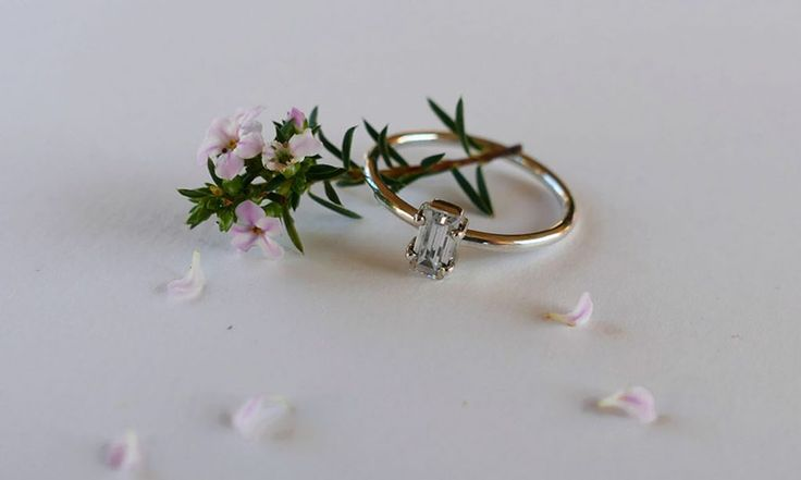 Emerald cut stone ring #diamondring #engagmentring #floral #design #fashion…