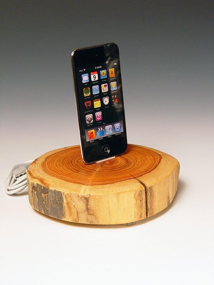 iPod dock. iPhone dock. Simple, natural, wood. Handmade from a reclaimed Arizona hardwood log.