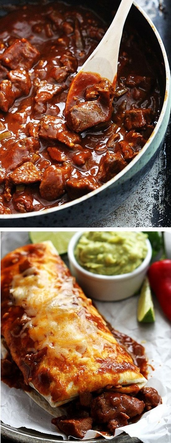 Saucy, cheesy smothered Chile Colorado Burritos made in 30 minutes... The sauce is so good you'll want to eat it straight from the pan.
