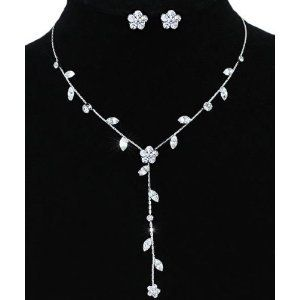 Floral Silver Plated Diamante Sparkling Earring Necklace Jewellery Set with PreciousBags Dust Bag: Amazon.co.uk: Jewellery