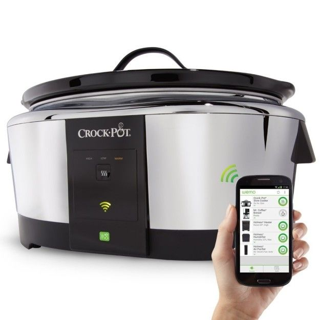You can adjust cook time and temperature via your smartphone with Crock-Pot's Wemo Smart Wifi-Enabled Slow Cooker. | 33 Futuristic Kitchen Products That'll Actually Make Your Life Easier