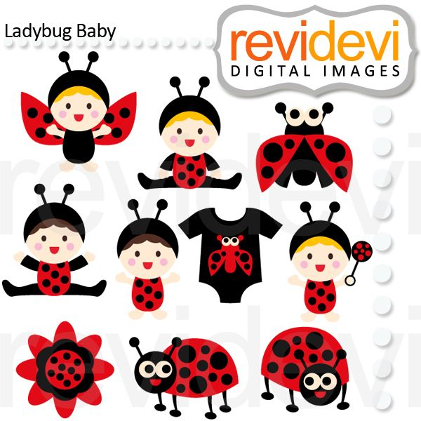 Ladybug baby. Cute babies in ladybug costumes. These   digital images  are  great for any craft and  creative     projects (first birthday, etc)