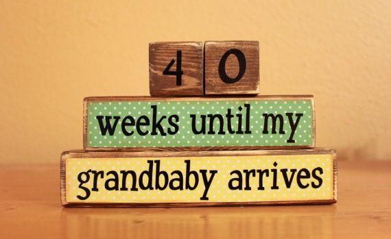 Grandparents Countdown Blocks Pregnancy by AirplanesToZebras, $16.00
