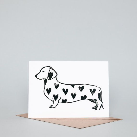 Spotty Heart Dachshund Lino Print Greeting Card