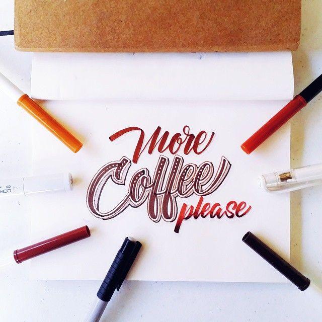 More coffee please!!! #calligrafikas #grafikas #dreweuropeo #moderncalligraphy #lettering #handlettering #madewithcrayola #crayolamarkers #crayolalettering