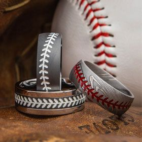 Made to order Baseball stitch rings. USA Made and free engravings. Baseball wedding rings in titanium, black zirconium, damascus steel. Get him what he wants.
