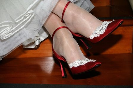 red AND lace ... cant get much more perfect ... I have a year and a half to learn to walk in stilettos again haha