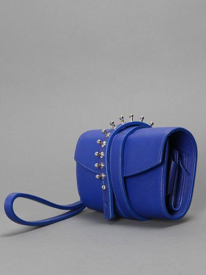 LOES VRIJ WOMEN'S GLORIOUS GUN LEATHER ELECTRIC BLUE POCHETTE